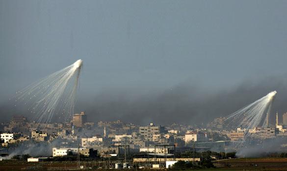 White phosphorus over Gaza, Jan. 2009