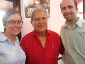 El Salvador's new Vice President Salvador Sanchez Ceren, with former CISPES Executive Director Cherrene Horazuk and solidarity activist and Fight Back! reporter, Brad Sigal