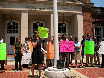 Haley Koch, one of the defendants, speaks at a rally outside the courthouse