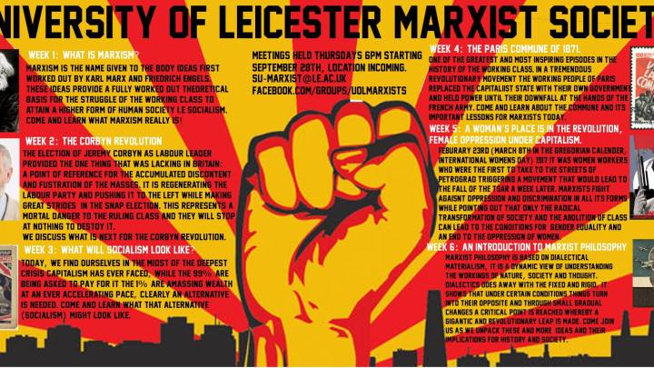 University of Leicester Marxist Society – autumn termcard