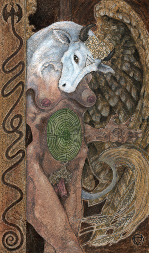 Ace of Discs - Mary El - A winged woman contemplates the ground beneath her feet. A green labyrinth blooms from her solar plexus. The alchemical sign for Earth is in the position of her third eye. Her head is that of a white cow (symbolizing Taurus, the sign of material comfort)