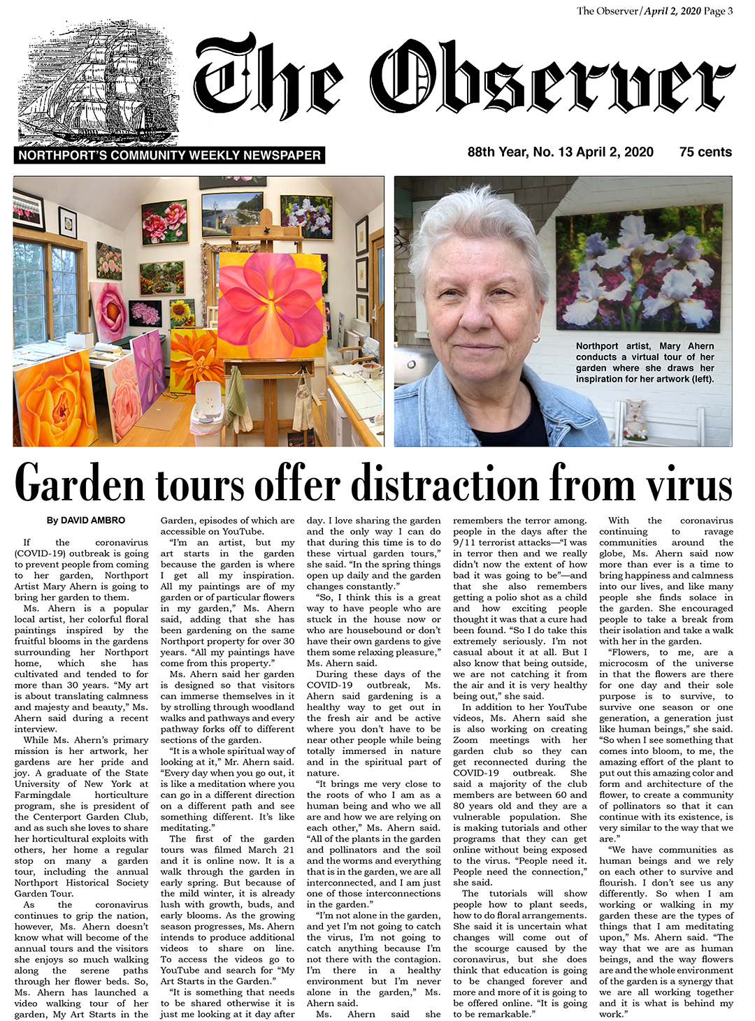 The Observer Article: Garden Tours Offer Distraction From Virus by David Ambro for The Observer.