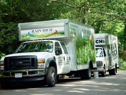 Rain Rich trucks of Greenlawn NY installed the irrigation system in the garden of the Artist, Mary Ahern.