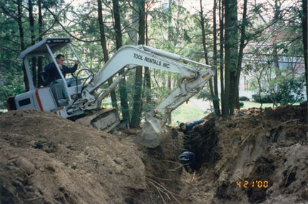 Digging the trenches for the utility lines