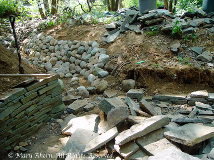 All the river rock was placed on the newly sculpted walls.