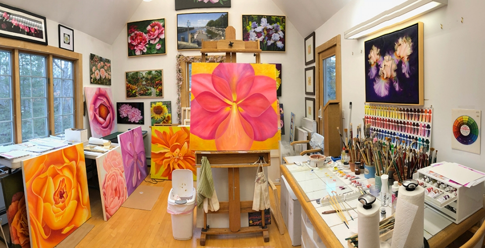 Painting Studio. Work in progress for Bayard Cutting Arboretum. Mary Ahern Artist