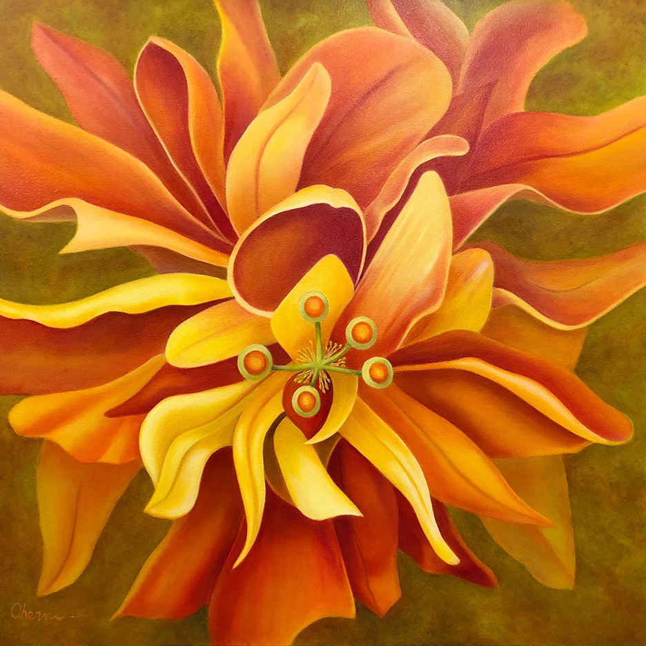 "Pay Attention Here-Orange Hibiscus36x36"" GW Oil on Canvas"