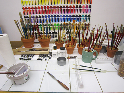 Mary Ahern's painting studio set-up