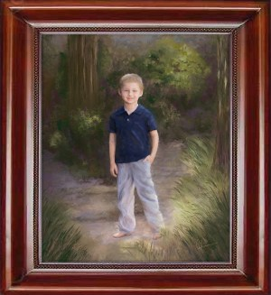 Young Boy on the Path - Painting by Mary Ahern the Artist