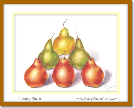Pyramid Pears. A Watercolor & Colored Pencil Painting by the Artist, Mary Ahern