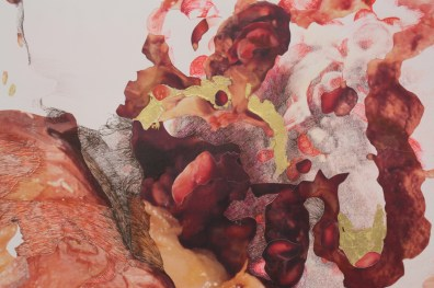 """Detail of """"Grapes, Pear and Pomegranate Rot and Repose"""""""