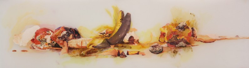 """Title: """"Ready for Picking?"""" Medium: Digitally altered photographs, oil, colored pencil and ink on Mylar. Dimensions: 12"""" x 40.5"""" Year: 2012"""