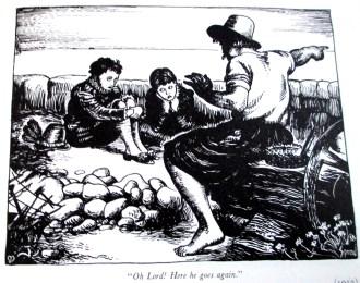 Cartoon based on John Everett Millais' Boyhood of Raleigh