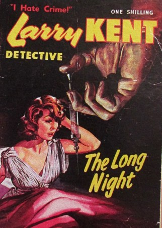 Larry Kent detective - the long night, cover art, detective novels, crime novels, Larry Kent, The Long Night, dime thrillers, cover art, is it art?
