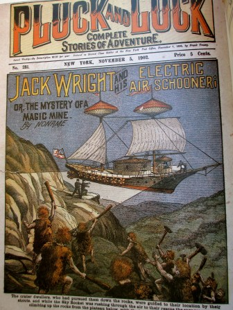 Pluck&Luck: Complete Stories of Adventure - Jack Wright and the electric air schooner, magazine cover, illustrative art, magazines, is it art?