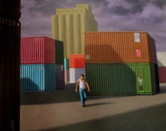 Jeffrey Smart | Second Study Containers and Silos at Livorno 1990, containers,
