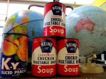 Heinz 57 Condensed Chicken Vegetable Broth, soup cans, pop art, K-Y sliced peaches, canned peaches, tinned peaches, pop art, is it art?