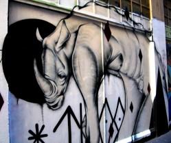 TwoOne rhino, Twoone, street art, street artists, Australian street artists, Melbourne, is it art?