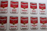 Andy Warhol | 10 Campbell's soup cans (Black Bean, Chicken Noodle, Tomato, Onion, Vegetable, Beef, Green Pea, Pepper Pot, Consomme (Beef) and Cream of Mushroom)