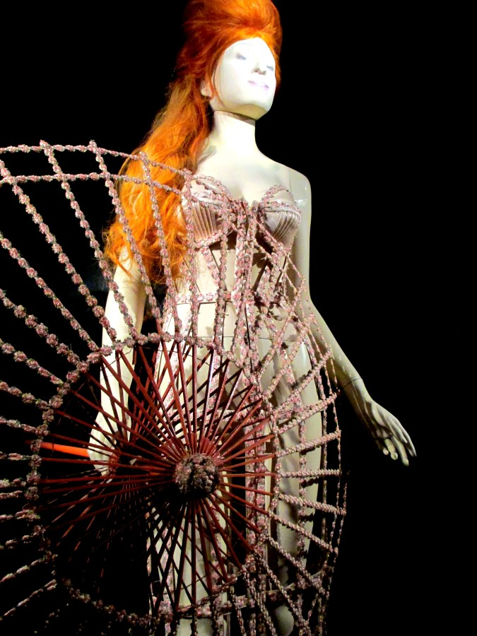 Jean-Paul Gaultier | Cage-look corset dress and parasol