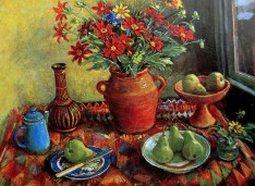 Margaret Olley | Dahlias and Pears