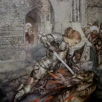 Arthur Rackham   How Sir Lancelot fought a fiendly dragon from the romance of King Arthur and His Knights of the Round Table London Macmillan 1917