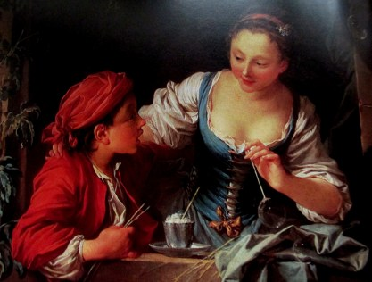 Francois Boucher | A boy with a girl blowing bubbles