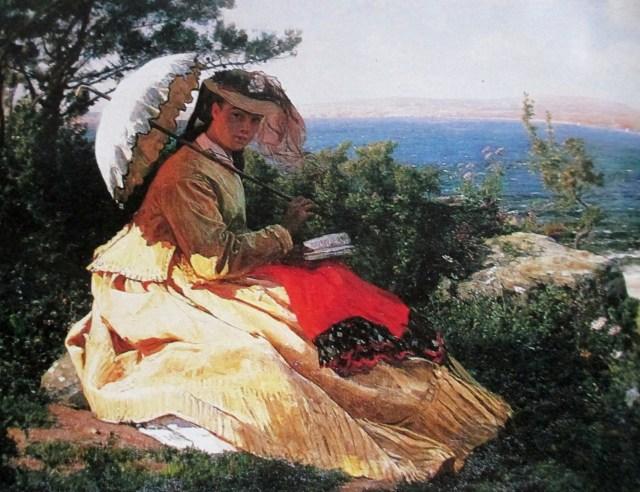 Jules Breton | La femme a l'ombrelle baie de Douarnenez 1871 artists wife Elodie at bay of Douarnenenz Brittany