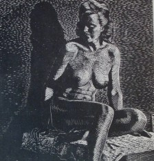Cliff Young   Drawing made on black paper with small sable brush using opaque white watercolur instead of ink