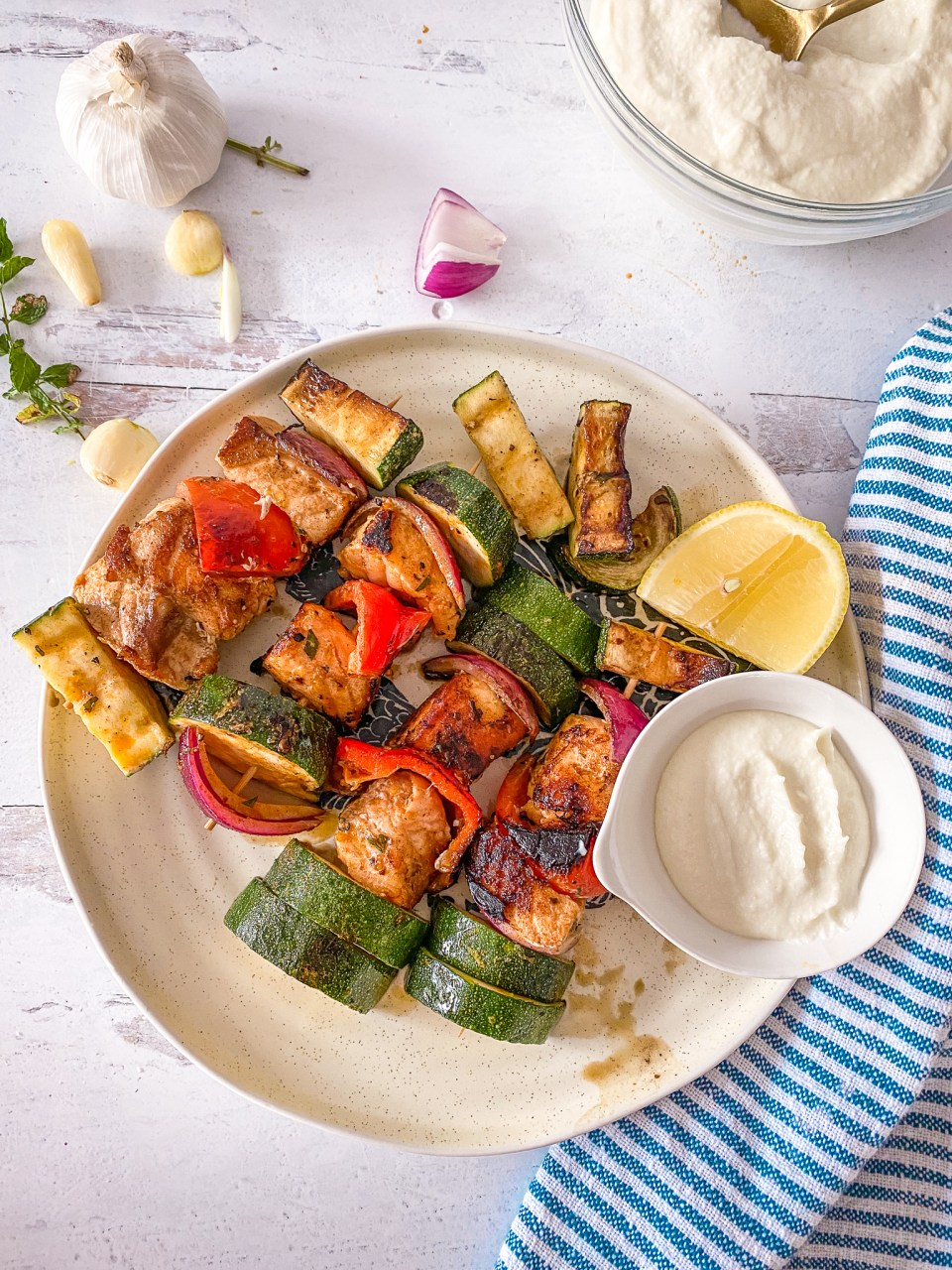 Whipped Lebanese Garlic adds a kick to these salmon kabobs.