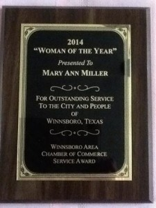 woman of the year plaque