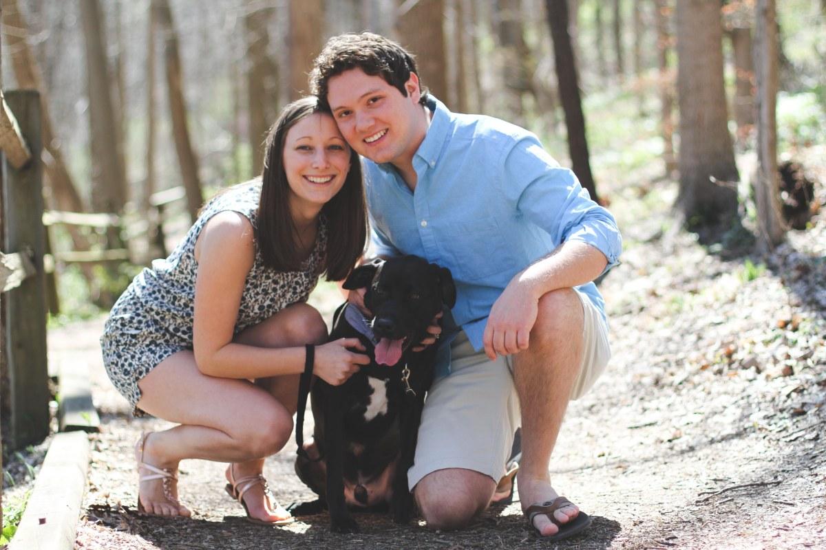 MaryBeth Eiler with her husband, Caleb, and their dog, Alaska.