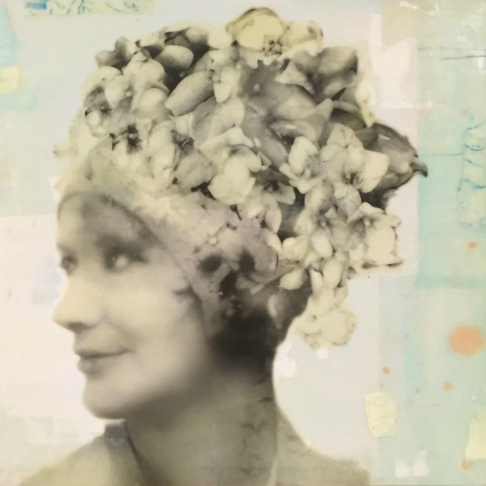 "Lola, photo collage, encaustic and mixed media, 12x12x2"" ©MarybethRothman"