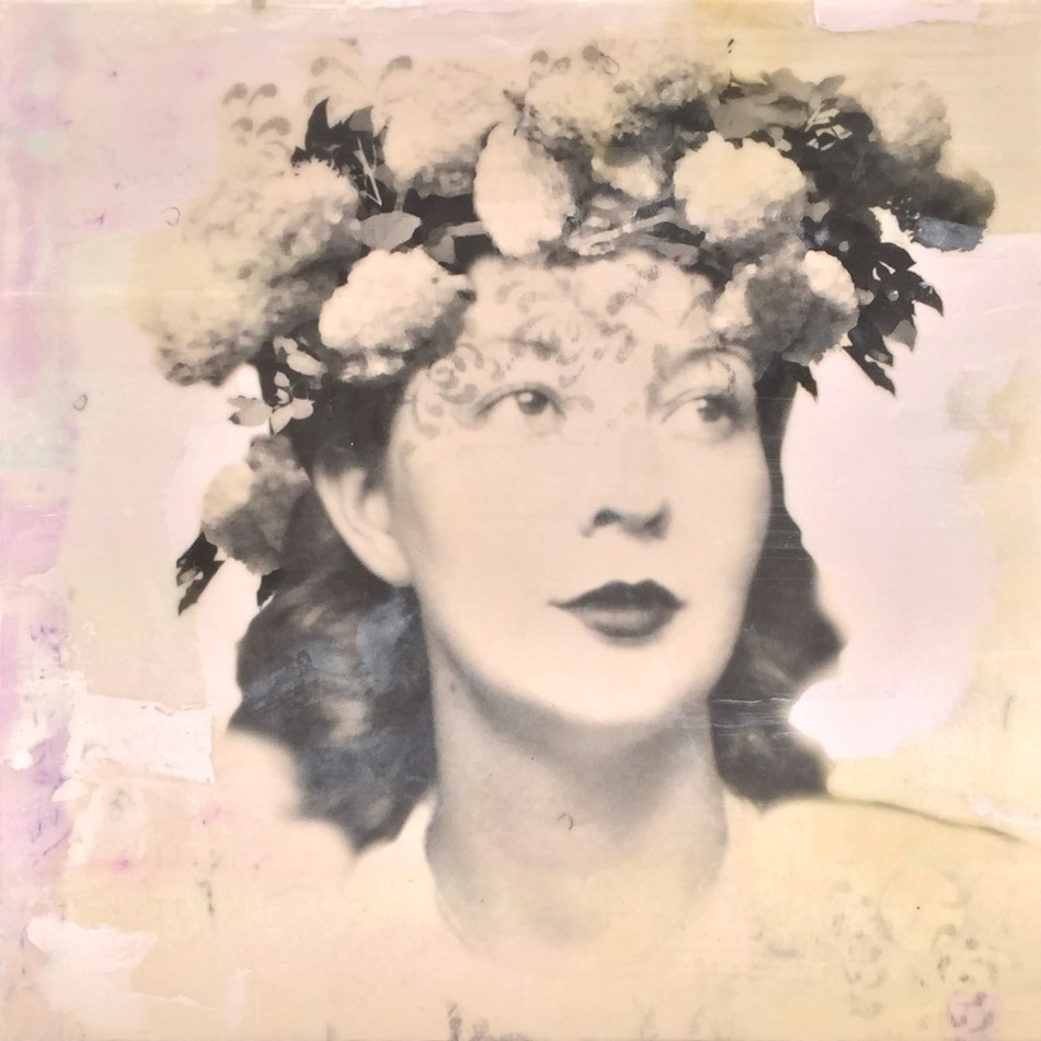 "Pearl, photo collage, encaustic and mixed media, 12x12x2"" ©MarybethRothman"