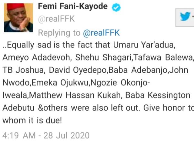 FFK Slams Buhari For Not Naming Train Stations After Obasanjo, Adeboye, Oyedepo