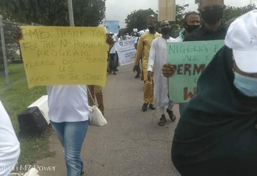 """N-Power Beneficiaries In Peaceful Protest In Abuja: """"Please Don't Send Us Back"""""""