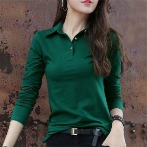 Autumn T long sleeve pool women's top Lapel slim bottoming shirt women