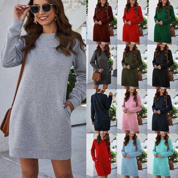 Autumn Winter Mini Dress Casual Solid O Neck Long Sleeve Basic Female Fashion