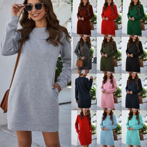 Autumn Winter Mini Dress Casual Solid O Neck Long Sleeve Basic Female Fashion