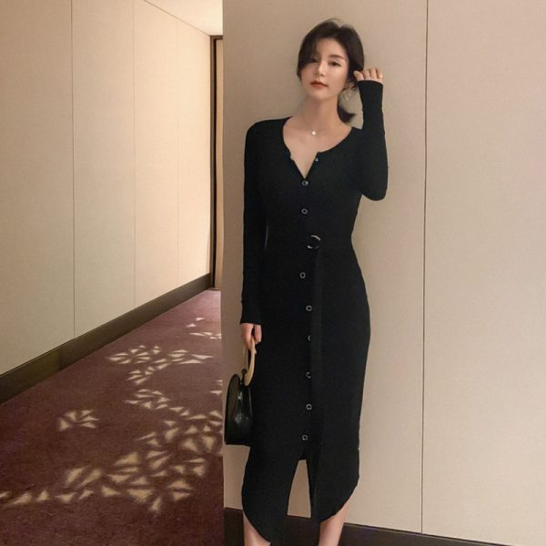 Women's Black Long Sleeve Bodycon Dress Party Sexy
