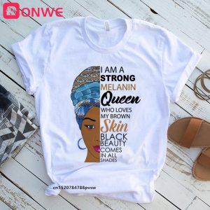 Women Clothes African Black Girl History Month Female T-shirt