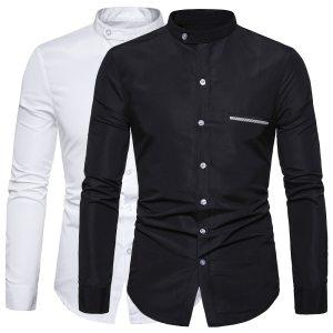 Men Shirt Solid Long Sleeve Casual Shirts