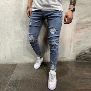 Men Pure Color Hole Denim Vintage Wash Hip Hop Work Trousers Jeans