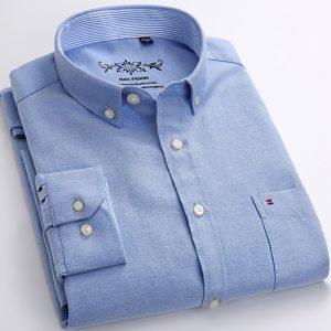 Men's Long Sleeve Oxford Plaid Striped Casual Shirt