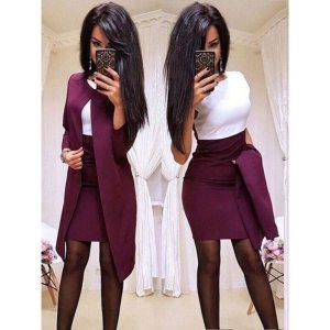 New Fashion women Dress suit Sheath O-Neck Mini Dress Sexy Formal blazer dress
