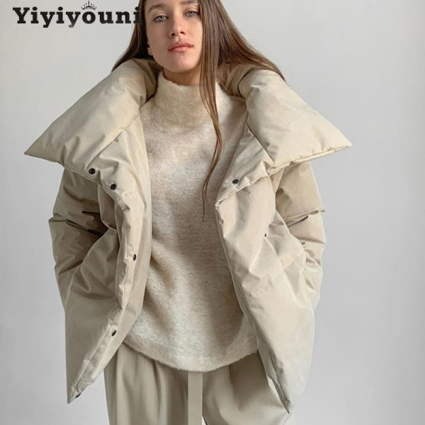 Women Cotton Padded Parka Outwear Women Solid Casual Thick Jackets