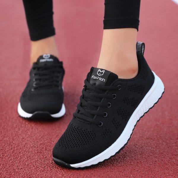 Women Sneakers Walking mesh lace up flat shoes