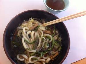 Udon noodles with mountain herbs