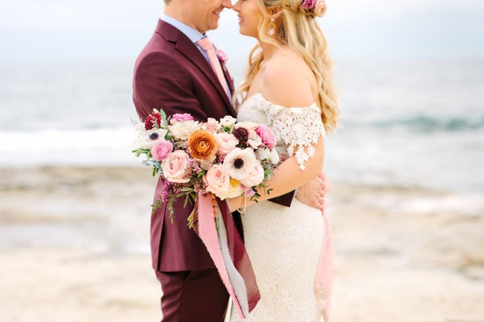 Bride and groom at beach - www.marycostaweddings.com