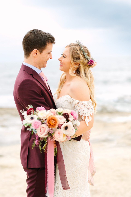 Bride and groom at the beach - www.marycostaweddings.com
